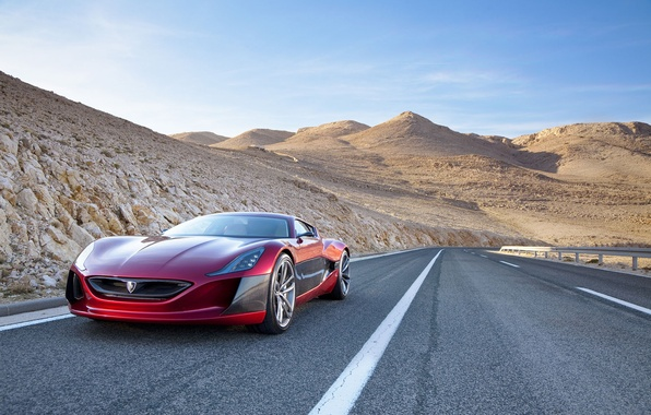 Picture desert, track, supercar, Concept One, Rimac