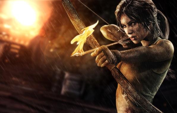 Picture girl, fire, bow, arrow, Lara Croft, lara croft, tomb raider