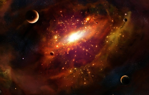 Picture space, light, nebula, planet, galaxy, center