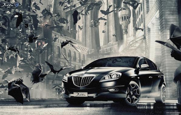 Picture mystic, monochrome, Gothic bats, Lancia, Lancia Delta