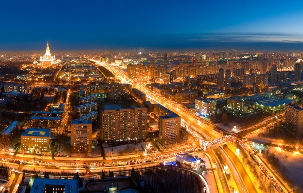 Picture road, night, lights, Moscow