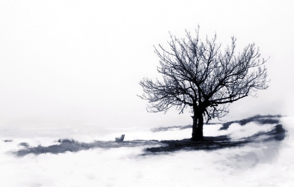 Picture winter, style, tree