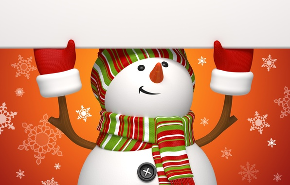 Picture winter, snowflakes, orange, holiday, graphics, new year, Christmas, snowman, christmas, new year