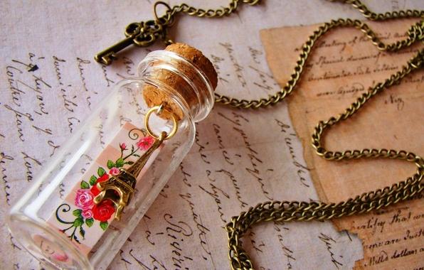 Picture letter, France, Paris, key, figurine, Eiffel tower, Paris, love, France, key, letter, La tour Eiffel