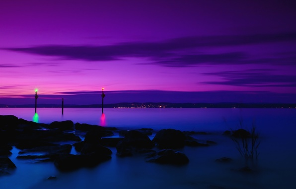 Picture the sky, clouds, night, lights, reflection, stones, shore, Switzerland, purple, lilac, Lake Constance