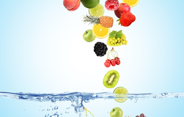 Picture water, bubbles, cherry, berries, raspberry, background, blue, lemon, apples, coconut, kiwi, strawberry, grapes, top, lime, …