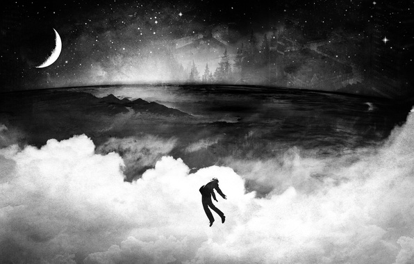 Picture the sky, stars, clouds, flight, the moon, People, b/W