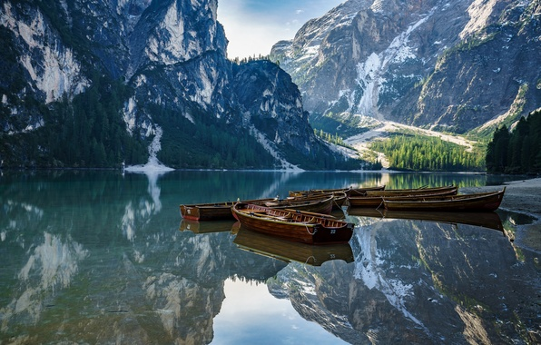 Picture mountains, lake, boat, Italy, The Dolomites