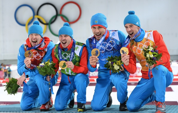 Picture Russia, Champions, Sochi 2014, The XXII Winter Olympic Games, Anton Shipulin, Biathlon relay, Evgeny Ustyugov, …
