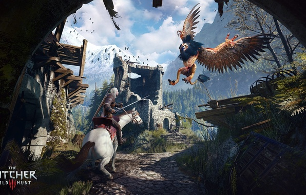 Picture horse, wings, feathers, the Witcher, Griffin, Geralt, The Witcher 3: Wild Hunt, The Witcher 3: …