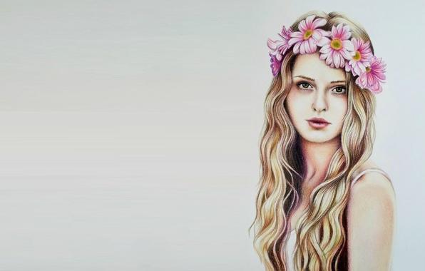 Picture girl, art, wreath, Eva Garrido