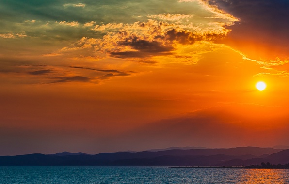 Picture Sunset, The sun, The sky, Water, Clouds, The ocean, Mountains, Trees, Island, Horizon