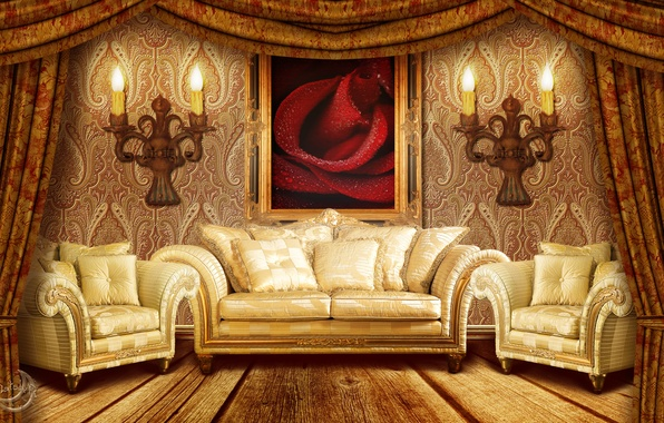Picture room, sofa, Wallpaper, rose, picture, chair, pillow, candles, art, interter, chandeliers