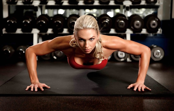 Picture look, girl, sport, blonde, the gym, pushups