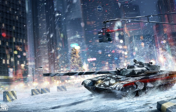 Picture winter, the city, street, tank, armored warfare