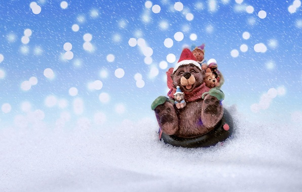 Picture snow, mouse, New Year, slide, Christmas, bear, Christmas, fun, New Year, Xmas, Merry, 2016