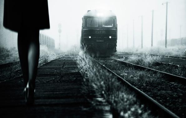 Picture girl, retro, photo, train