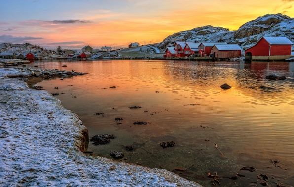 Picture the sky, snow, mountains, lake, the evening, Norway, house, the village