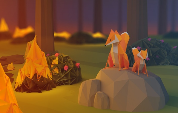 Picture forest, fire, fire, the evening, Fox