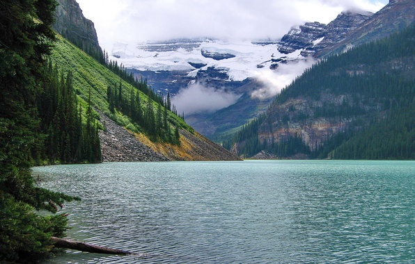 Picture forest, clouds, mountains, lake, Banff National Park, Alberta, Lake Louise, Canada