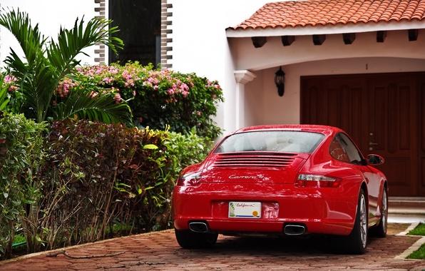 Picture red, garage, Porsche, Porsche, Porsche, the bushes, Porsche Carrera 4
