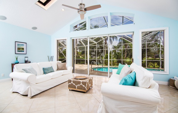 Picture windows, summer, pool, garden, painting, living room, palm trees, cushions, sunny, doors, sofas, ceiling fan
