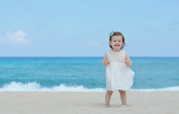 Picture sand, sea, beach, summer, the sky, children, smile, background, widescreen, Wallpaper, mood, wave, child, dress, …