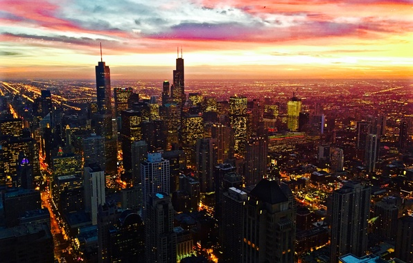 Picture City, Red, Clouds, Sky, Chicago, Sunset, Street, Skyline, Architecture, Homes