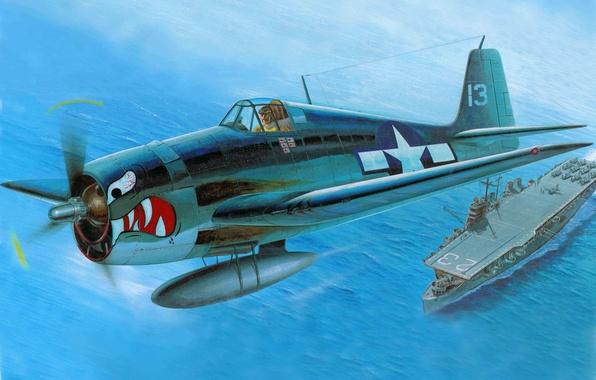 Picture the plane, fighter, art, USA, Grumman, F6F-3, deck, Hellcat, WW2., Grumman, F6F-3 Hellcat