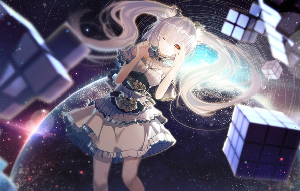 Picture girl, space, smile, earth, planet, anime, art, cube, ajahweea