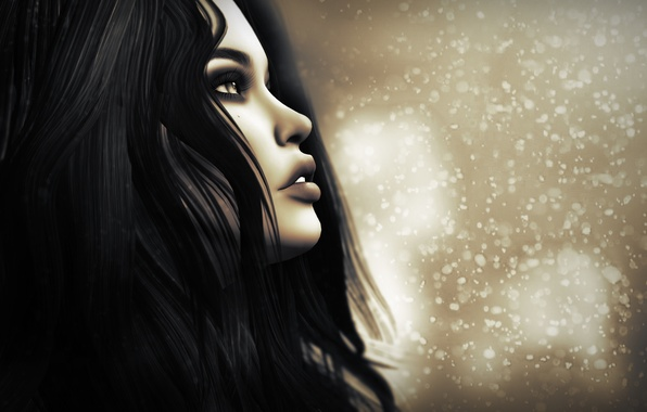 Picture girl, face, background, profile