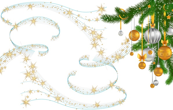 Picture sprig, holiday, balls, minimalism, stars, art, New year, herringbone