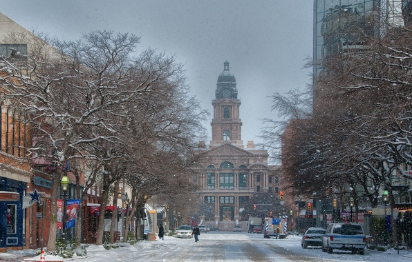 Picture snow, snow, usa, Texas, Texas, Fort Worth, Courthouse, Fort Worth