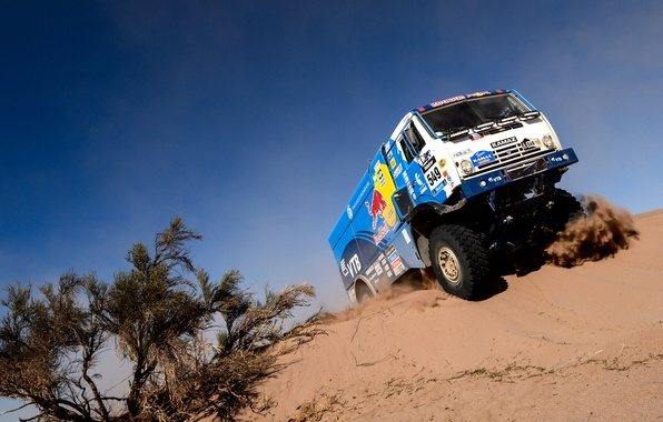Picture sand, the sky, grass, blue, truck, Russia, kamaz, russia, KAMAZ, red bull, Dakar, dakar, KAMAZ-master, …