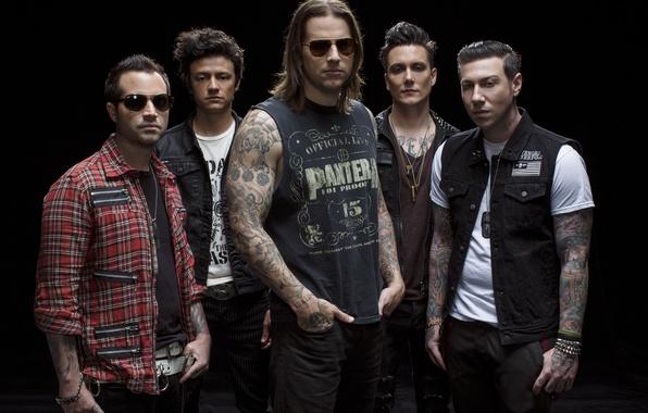 Picture group, A7X, Avenged Sevenfold, Zacky Vengeance, M. Shadows, Johnny Christ, Synyster Gates, hard rock, heavy …