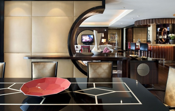 Picture style, table, chairs, interior, TV, the hotel, bar