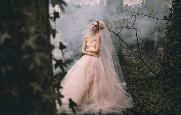 Picture forest, girl, dress, Rosie Hardy, Lauren Hall Worth