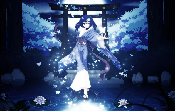 Picture girl, trees, butterfly, night, nature, the moon, anime, art, kimono, cilou, hatou yumei, akai ito