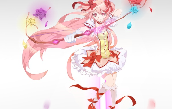 Photo Wallpaper Girl Flowers Tape Weapons Roses Anime Petals