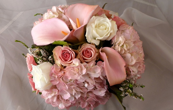 Picture flower, flowers, roses, bouquet, pink, white, Calla lilies