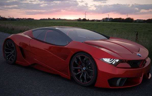 Picture auto, Concept, red, BMW, GT4, M10