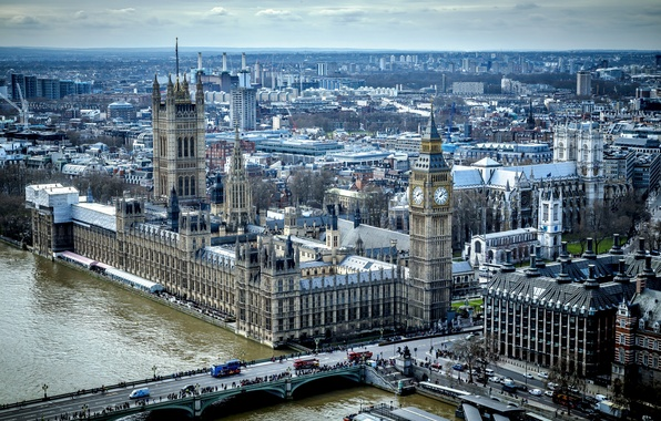 Picture bridge, river, England, London, tower, home, panorama, Thames, Parliament
