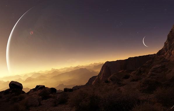 Picture stars, rocks, planet, art, terraspace