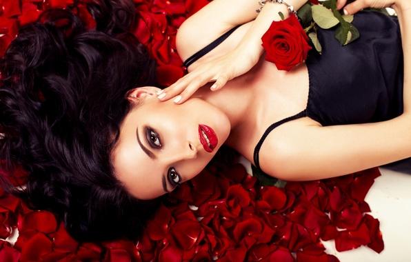 Picture girl, rose, makeup, girl, rose, makeup, floral petals, flower petals