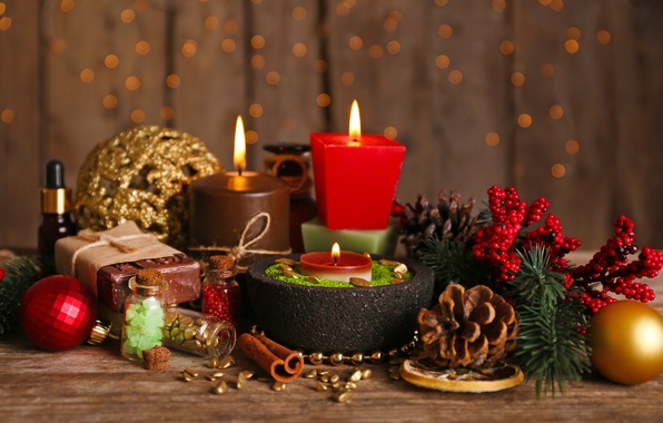 Picture decoration, branches, table, fire, holiday, balls, toys, candles, New year, bumps