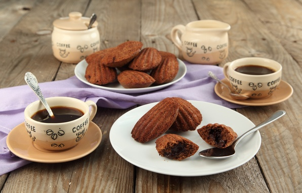 Picture coffee, chocolate, cookies, Cup, sweets, cakes, spoon, Madeleine