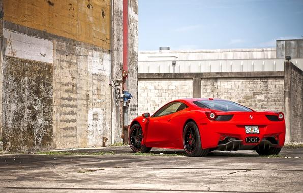 Picture red, wall, the fence, pipe, red, wheels, ferrari, Ferrari, black, sky, Italy, clouds, 458 italia, …