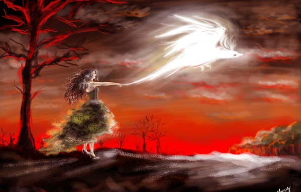 Picture girl, trees, red, bird, dress, art, profile, painting, Phoenix
