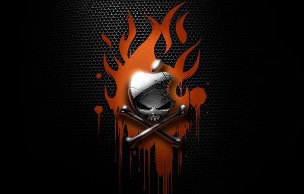 Picture abstraction, flame, Wallpaper, the darkness, blood, skull, apple, Apple, bones