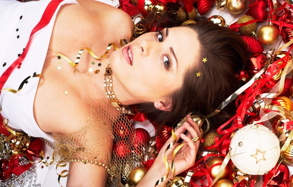 Picture girl, decoration, tape, holiday, new year, stars, red, model, beauty, New Year, celebration, Woman, Christmas …